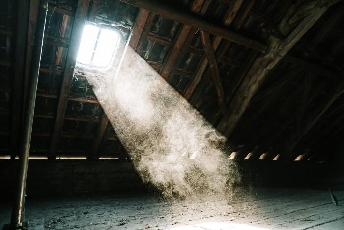 light streaming in through attic window